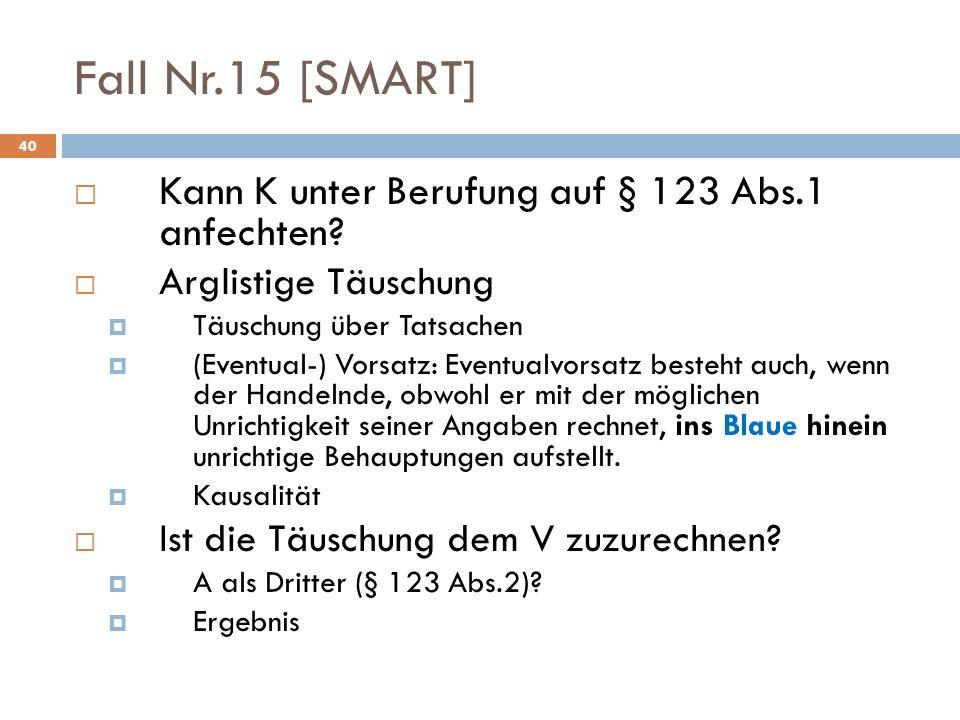 Fall Nr.15 [SMART] Kann K unter Berufung auf § 123 Abs.1 anfechten